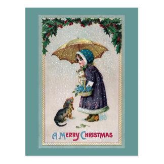Girl, Cat & Dog Under Umbrella in Snow Vintage Postcard