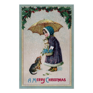 Girl Cat Dog Under Umbrella in Snow Vintage Poster