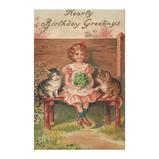 Girl Cat Kitten Flowers Birthday Stretched Canvas Prints