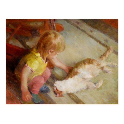 """Girl & cat"" postcard"