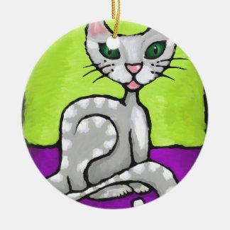 girl cat round ceramic decoration