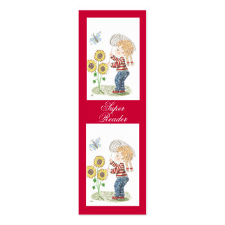 Girl catching a butterfly tiny bookmarks pack of skinny business cards