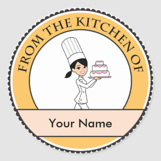 Girl Chef Print Round Sticker
