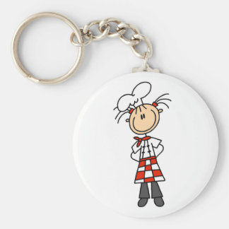 Girl Chef Stick Figure Tshirts and Gifts Basic Round Button Key Ring