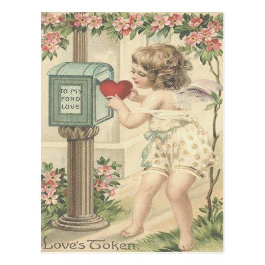 Girl Cherub Heart Cupid Mailbox Valentine Postcard