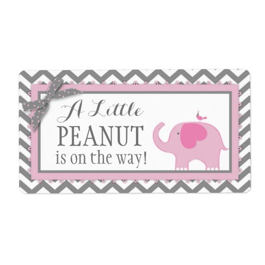 Girl Chevron Pink Elephant and Bird Gift Label