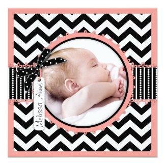Girl Chevron Print Birth Announcement Photo Card