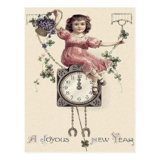 Girl Clock Midnight Four Leaf Clover Violets Postcard