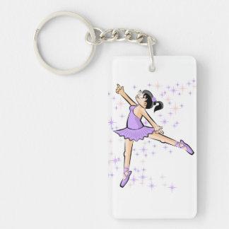 Girl dances ballet dressed violet key ring