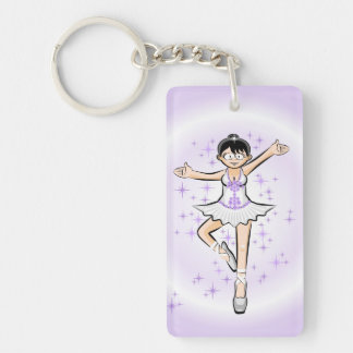 Girl dances ballet under a veil lilac and target key ring