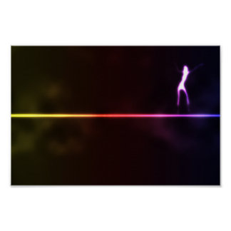 Girl-dancin-on-neon-light-line121 DANCING SHADOW A Poster