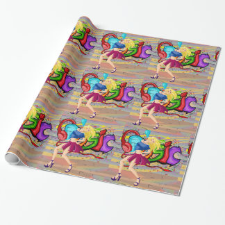 Girl Dancing 4 with Music Graffiti Wall Background Wrapping Paper