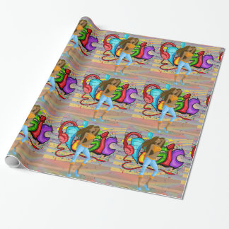 Girl Dancing 6 with Music Graffiti Wall Background Wrapping Paper