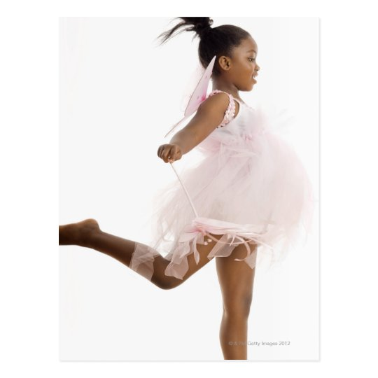 Girl dancing in fairy costume postcard