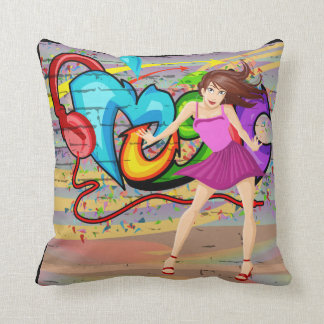 Girl Dancing  Music Graffiti Wall Background 4 Cushion