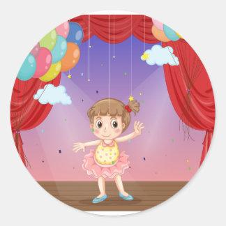 Girl dancing round sticker
