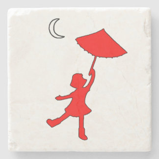 Girl dancing with an umbrella stone beverage coaster
