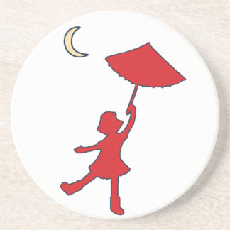 Girl dancing with her umbrella drink coaster