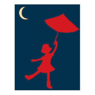 Girl dancing with her umbrella postcard
