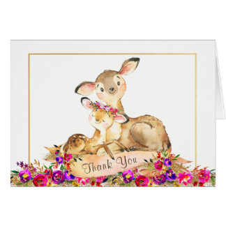 Girl Deer Baby Shower Thank You Cards