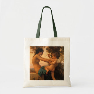 Girl Defending Herself Against Cupid by Bouguereau Budget Tote Bag