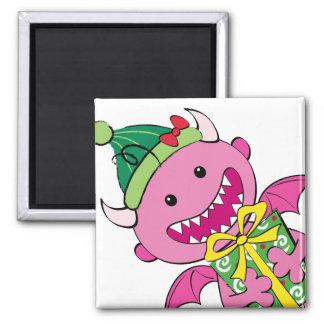 Girl Devil with present Refrigerator Magnet