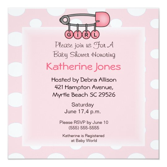 Girl  Diaper Pin  Shower Invitation