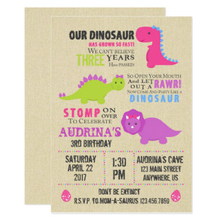 Girl Dinosaur Birthday Invitation