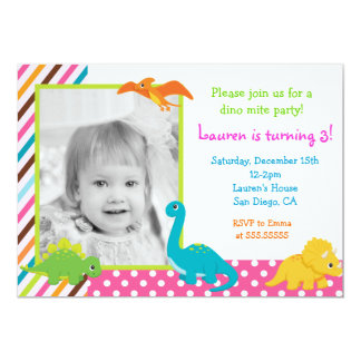 Girl Dinosaur Birthday Invitation for