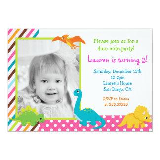 Girl Dinosaur Birthday Invitation for
