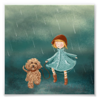 Girl & Dog With Umbrella At The Sea Art Photo
