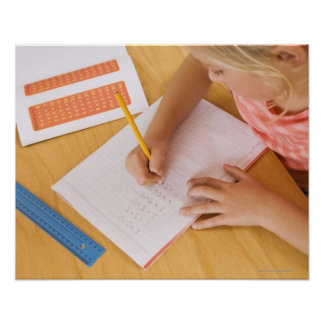Girl doing homework poster