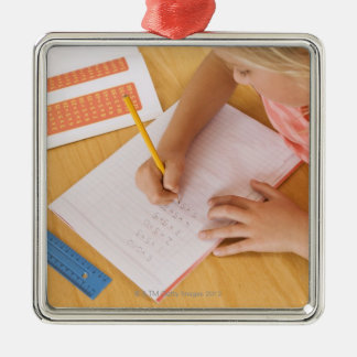 Girl doing homework Silver-Colored square decoration