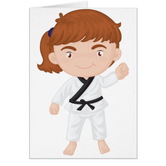 Girl Doing Karate Greeting Cards