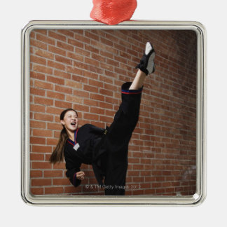 Girl doing martial arts 3 Silver-Colored square decoration