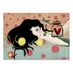 Girl doll fairytale red victorian business card