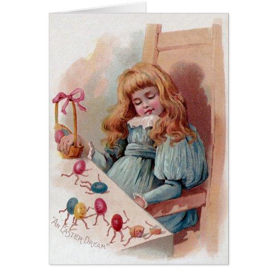Girl Dreaming of Animate Easter Eggs Card