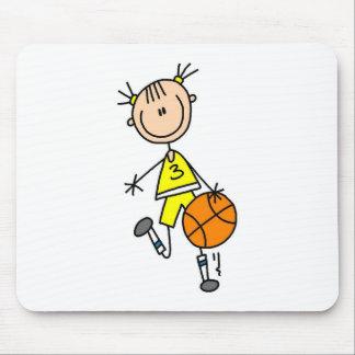 Girl Dribbling Basketball Tshirts and Gifts Mouse Pad