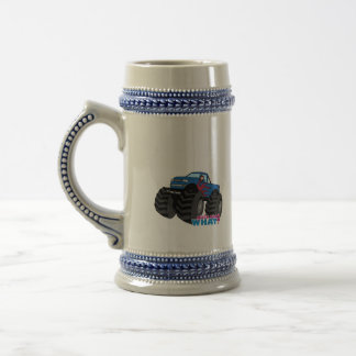 Girl Driving Blue Monster Truck Beer Steins