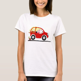 Girl Driving Car Cartoon T-Shirt