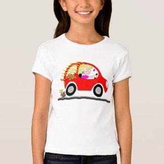 Girl Driving Car Cartoon T Shirt