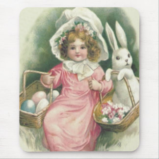 Girl Easter Basket Bunny Colored Eggs Mouse Mat