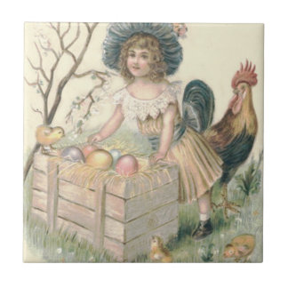 Girl Easter Chick Rooster Colored Egg Tile