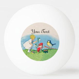 Girl Easter Lilly Gnome Elves Singing Bird Basket Ping Pong Ball