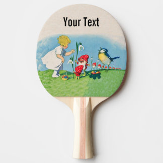 Girl Easter Lilly Gnome Elves Singing Bird Basket Ping Pong Paddle