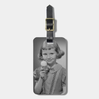 Girl Eating Ice Cream Luggage Tag
