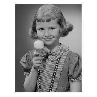 Girl Eating Ice Cream Postcard
