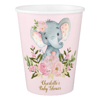 Girl Elephant Baby Shower Paper Cup Pink Flowers