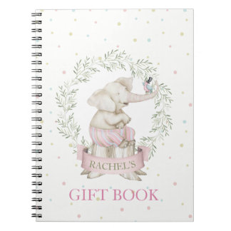Girl Elephant Baby Shower Pink Green Beige Notebooks