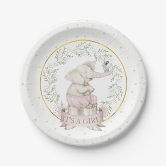 Girl Elephant Baby Shower Pink Green Beige Paper Plate